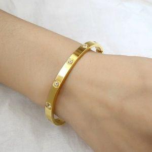 NEW 18K YELLOW GOLD ROUND DIAMOND BANGLE BRACELET